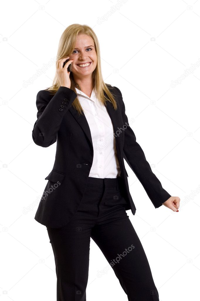 Young business woman calling by cellular phone — Stock Photo #2518184