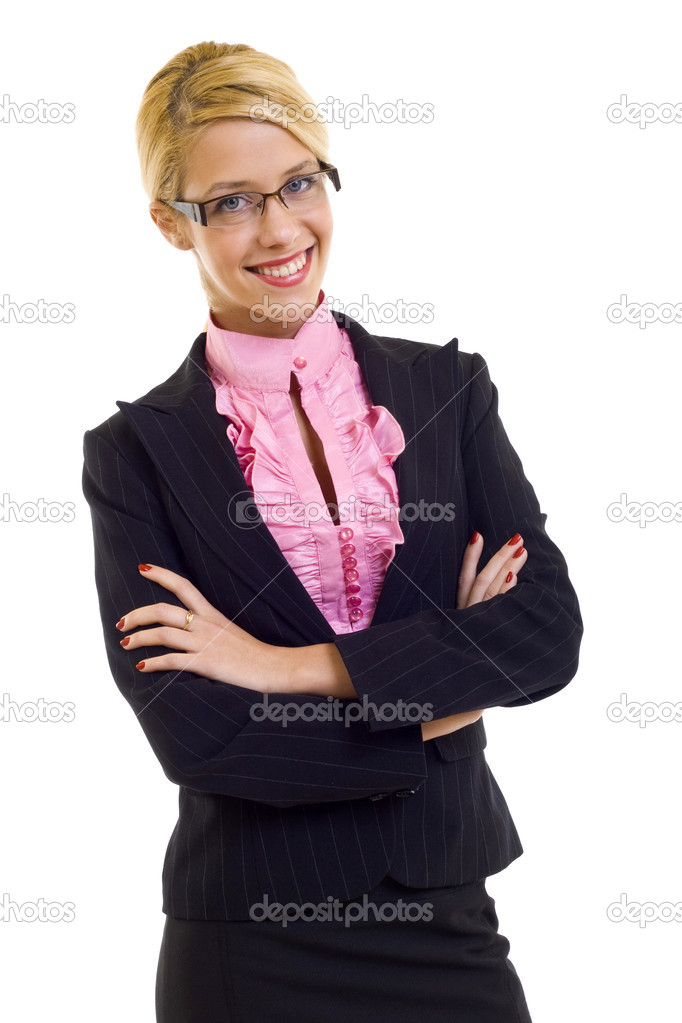 Portrait of young happy smiling business woman, isolated on white — Stok fotoğraf #2619985