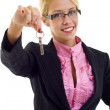 Woman holding keys — Stock Photo