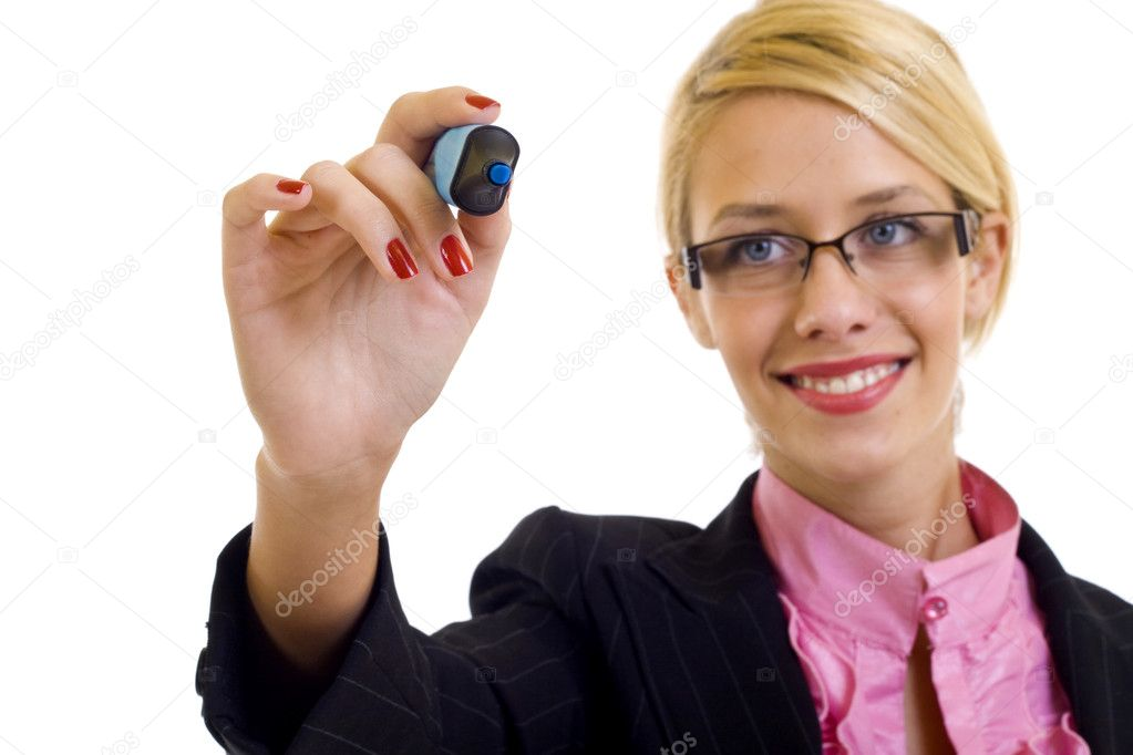 Business woman writing something with a blue marker  Stock Photo #2620003