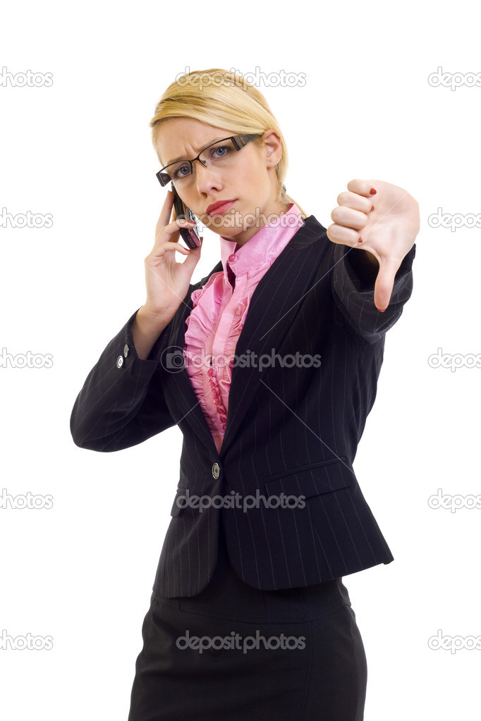 Woman with thumb down gesture and mobile phone — Stock Photo #2620006