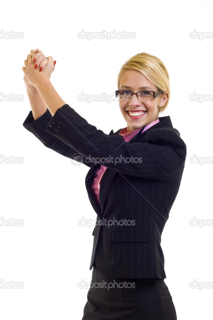 Pretty joyous business woman celebrating success over white background — Stock Photo #2620095