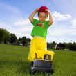 Child playing with truck — Stock Photo