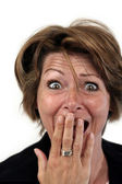 Woman with a surprised face — Stock Photo