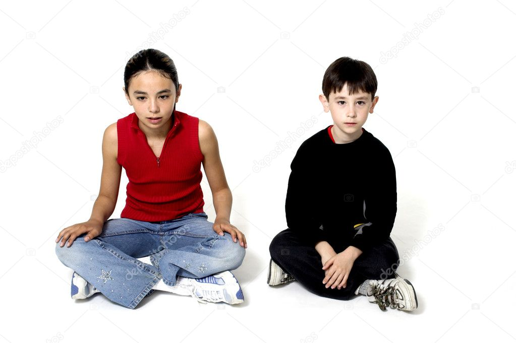 Boy and girl over white — Stock Photo #2347949