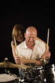 Woman drummer playing — Stock Photo