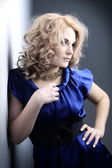 Glamour blond woman in blue — Stock Photo