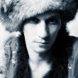 Royalty-Free Stock Photo: Russian fashion men in fur-cup