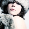 Fashion girl with furs — Foto de Stock
