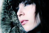 Fashion girl with furs — Stock Photo