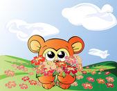 Oso con flores — Vector de stock