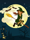 Witch met bezem — Stockvector