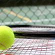 Tennis Ball, Rackets and Court — Stock Photo