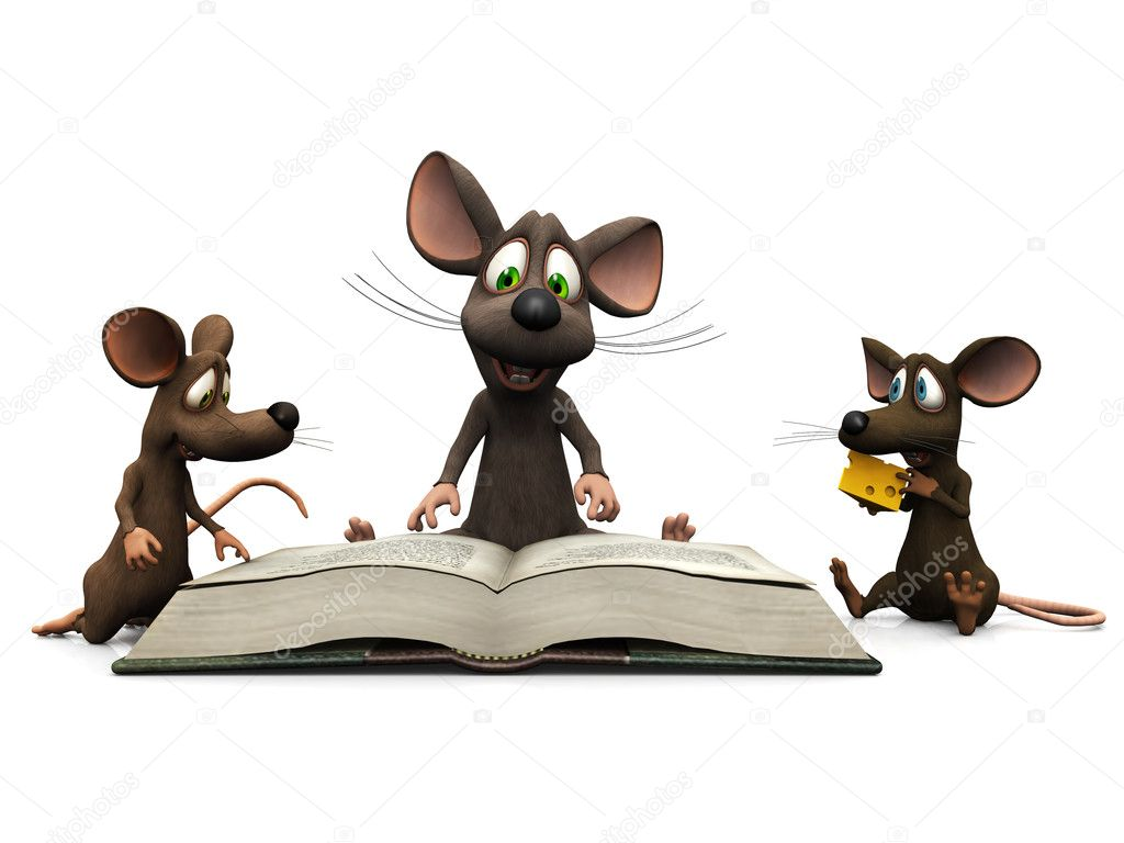 An adult cartoon mouse reading a story for two mice kids. — Stock Photo #2286027
