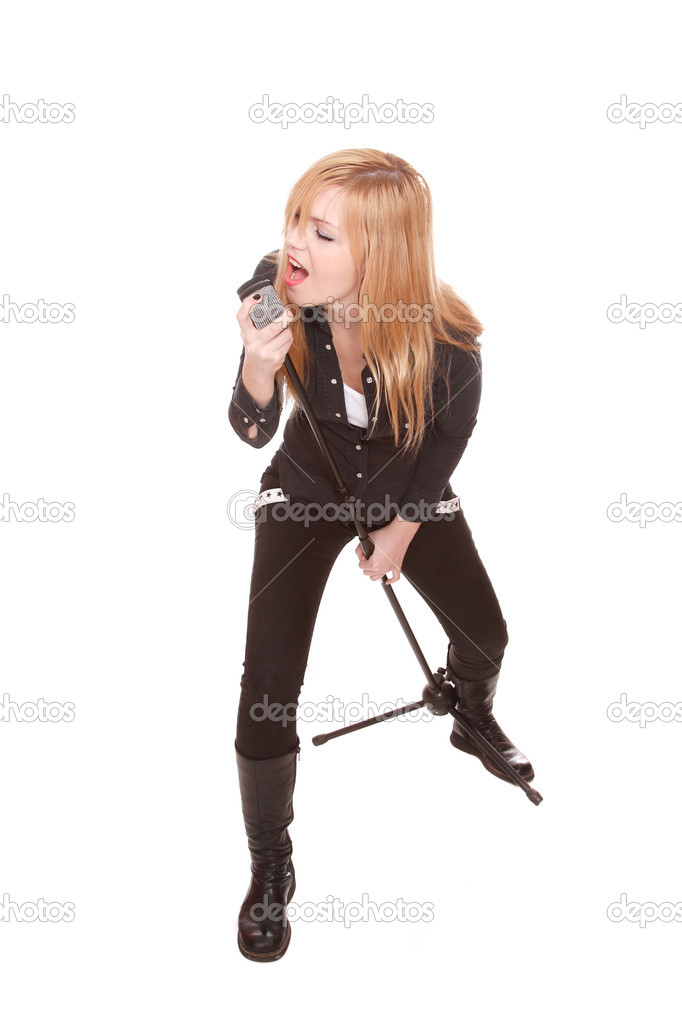 Portrait of female rock singer with microphone in hand — Foto Stock #2335664