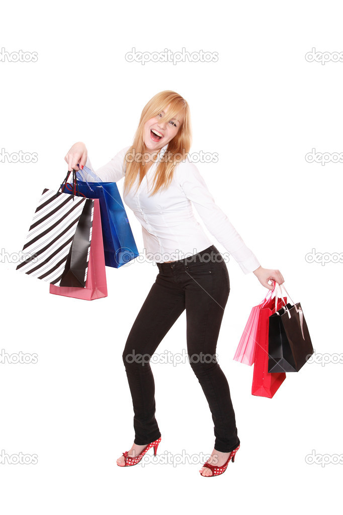 A Shopping sexy woman over white background — Stock Photo #2336823