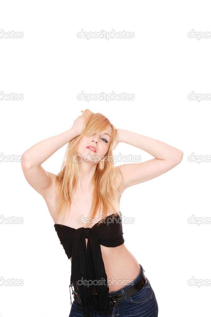 Portrait of a fresh and lovely woman over white background — Stock Photo #2336965
