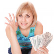 Casual happy woman with money — Stock Photo