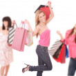 Group shopping girls — Stockfoto