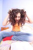 Angry teenage girl — Stock Photo