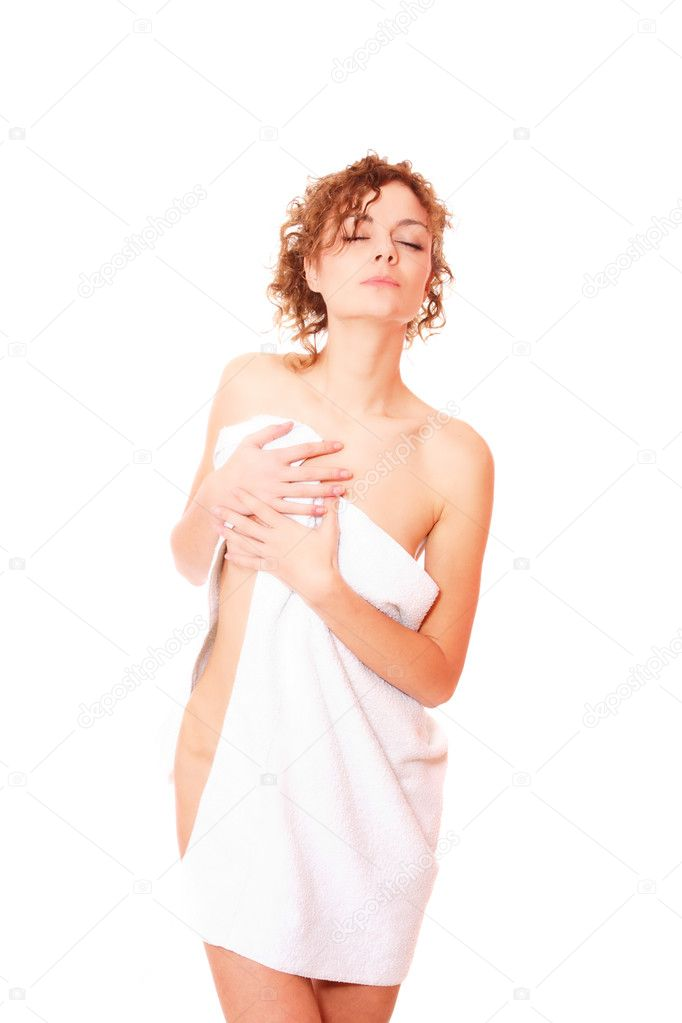 Beautiful young woman in towel - health and beauty — 图库照片 #2341283