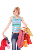 Shopping women smiling — Stockfoto