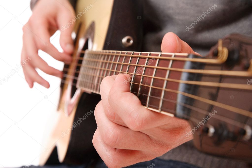 Guitarist hand playing guitar — Stock Photo © netfalls ...
