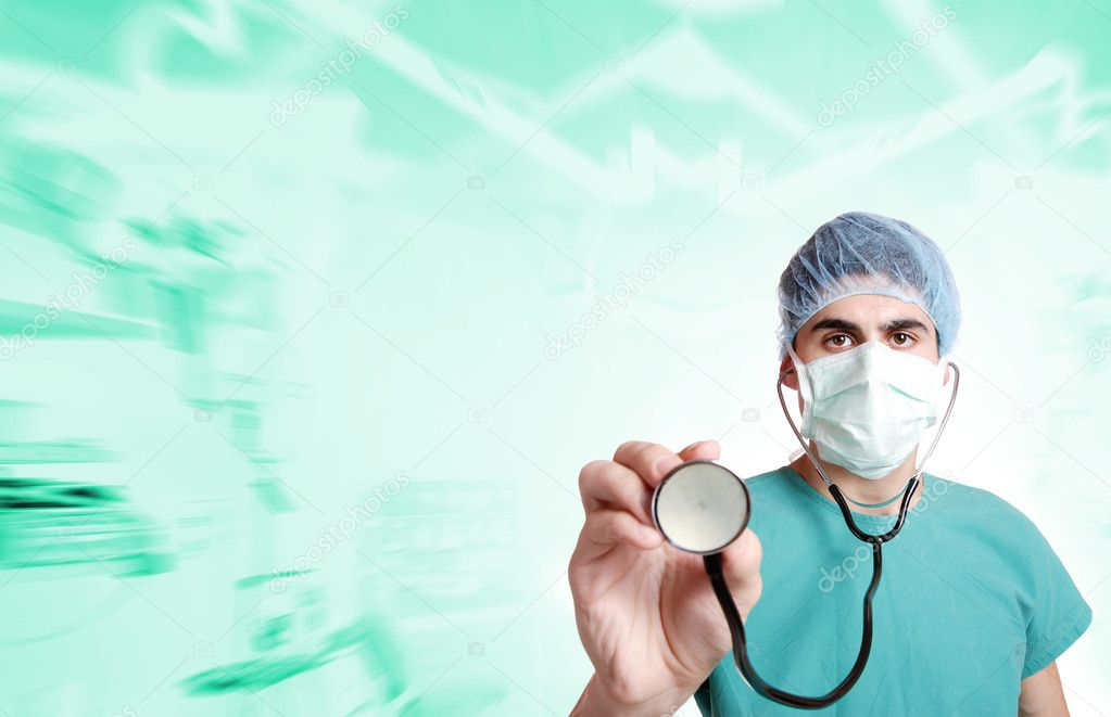 A handsome medical doctor with stethoscope.   — Stock Photo #2357874