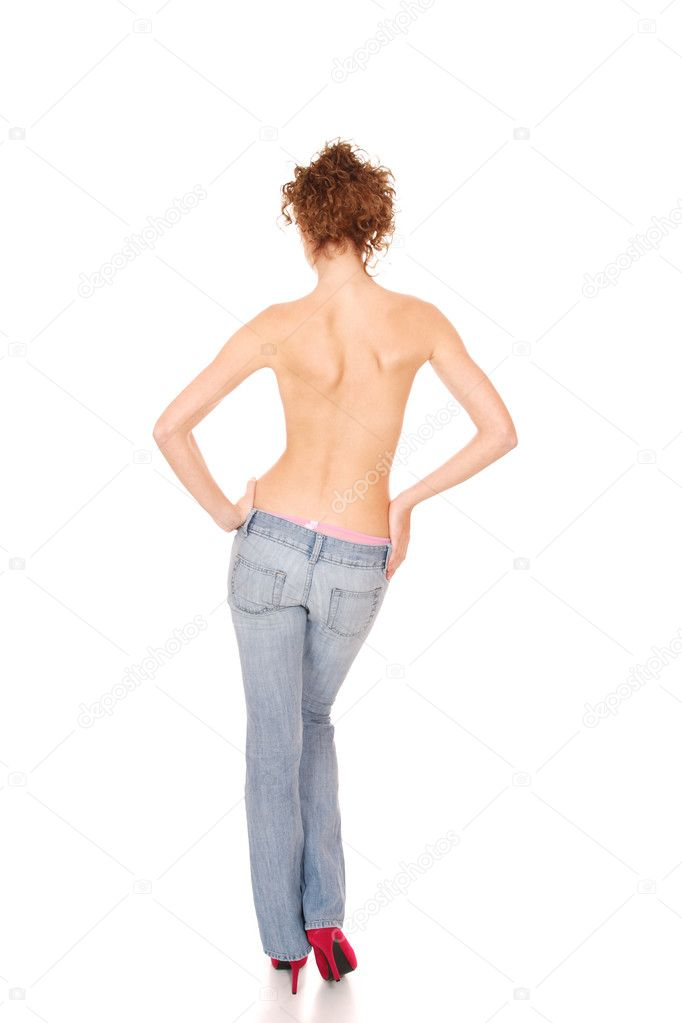 Beautiful woman wearing jeans isolated on a white background — Stock Photo #2404141