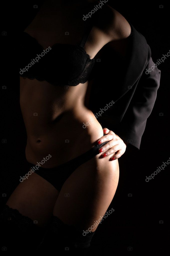 Glamour woman in lingerie on dark background  Stock Photo #2412308