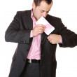 Portrait of a business man holding money — Stock Photo