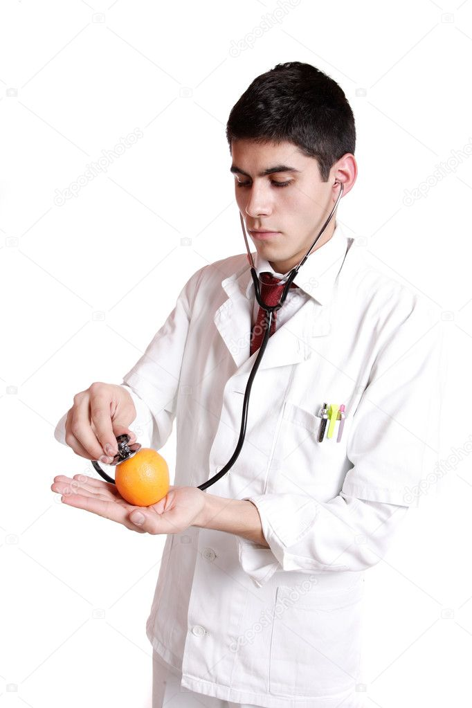 Medical doctor with stethoscope. Isolated over white background — Stock Photo #2666116