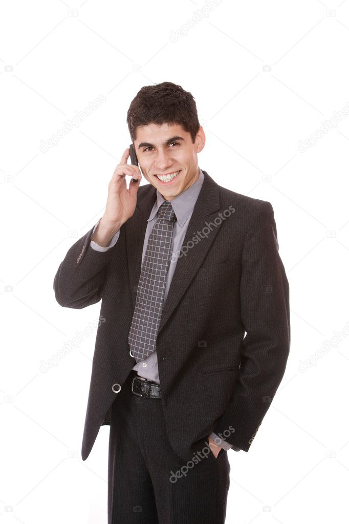 Businessman on the phone on white background  Stock Photo #2667919