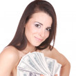 Attractive woman takes lot of 100 dollar bills — Stock Photo #2678305