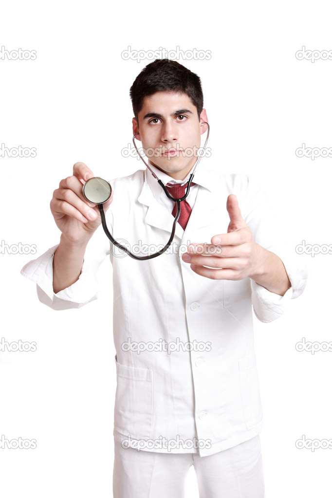 Medical doctor with stethoscope. Isolated over white background — Stock Photo #2670268