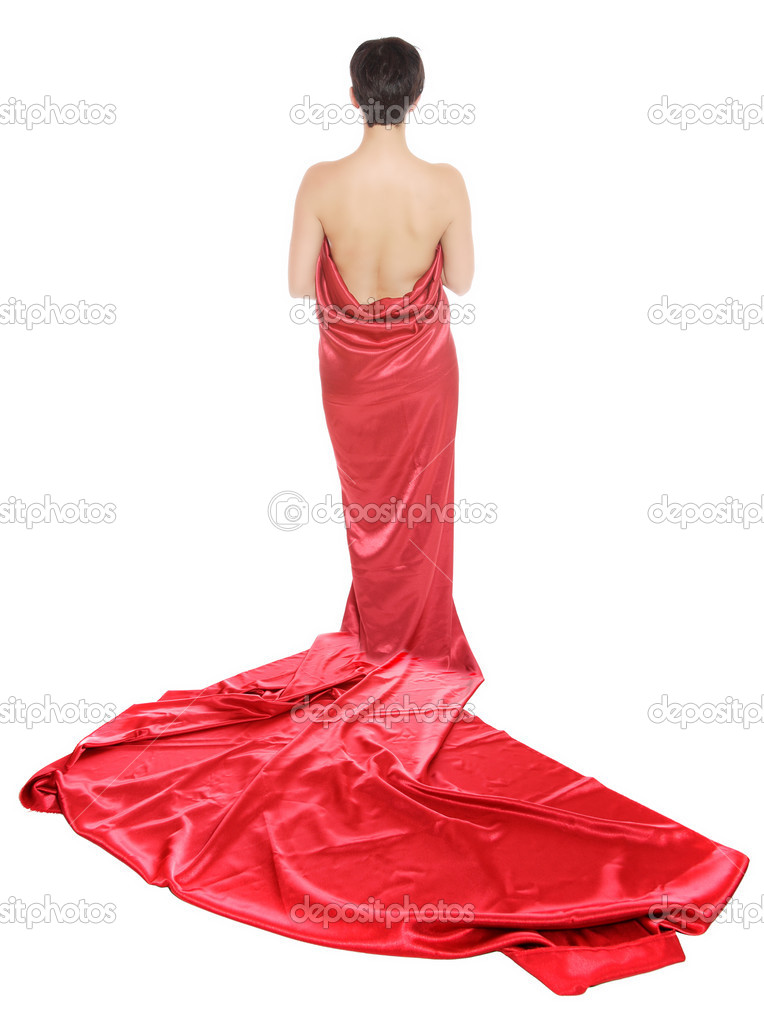 Beautiful girl in a long red dress on white background  Stock Photo #2676384