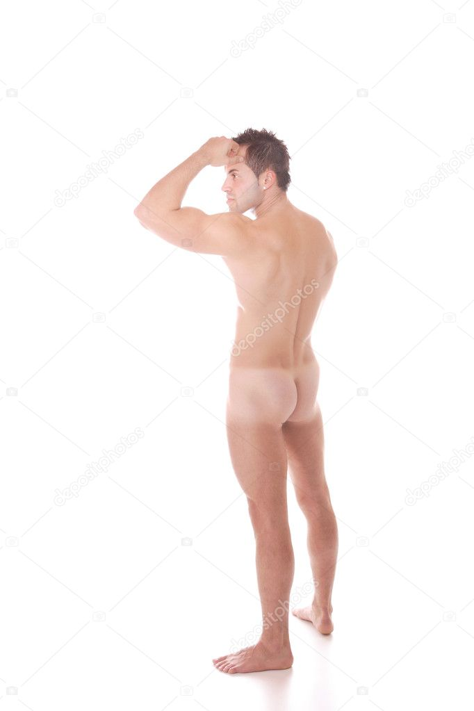 A Muscular nude male On white background  Stock Photo #2677412