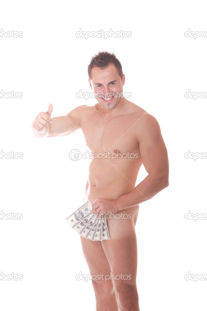 A Muscular nude male with money in his hand On white background — Stock Photo #2677420