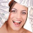 Attractive woman takes lot of 100 dollar bills — Stock Photo