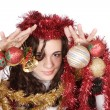 Stock Photo: A model with christmas decorations
