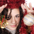 A model with christmas decorations — Stock Photo
