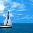 Sailboat sailing in the morning — Stock Photo