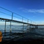 Pier at the lake balaton — Stock Photo