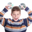 Young child with DVD disc — Stock Photo