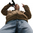 Young man with binocular — Stock Photo