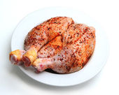 Spiced uncooked chicken legs — Stock Photo