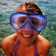 Young woman wearing diving goggles — Stock Photo