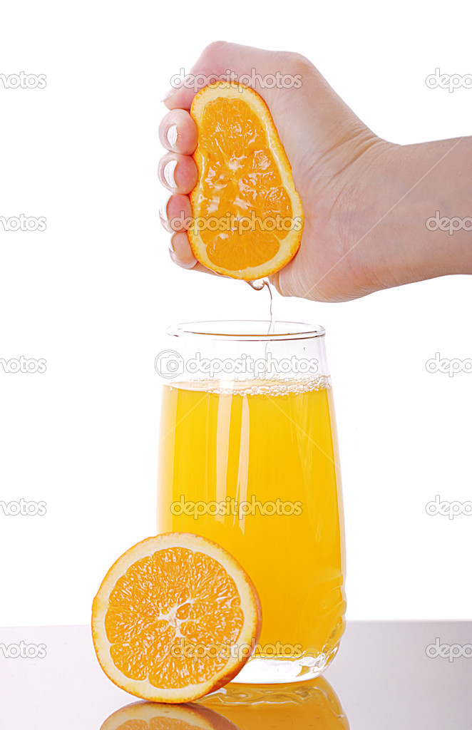 Fresh squeezed orange juice isolated on white  — Stock Photo #2496549