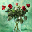 Red roses in vase — Stock Photo