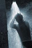 Man refresh oneself with bath — Stock Photo